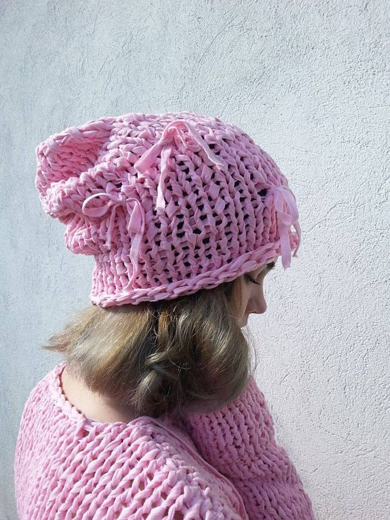 Summer Slouchy Hat  Cotton Baby Pink Hat  Losse knit Hat