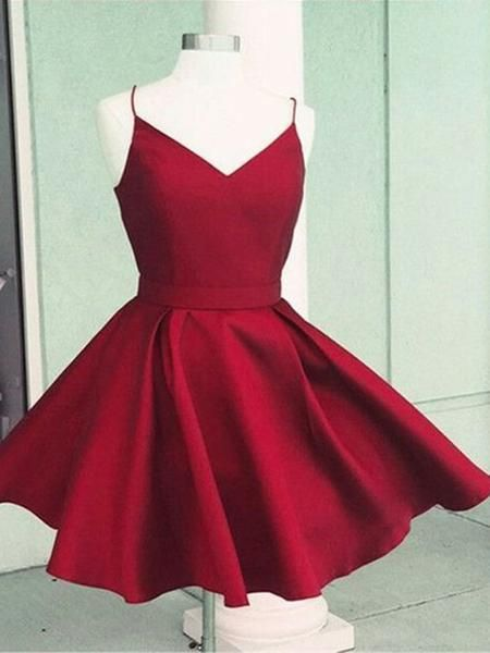 Simple Red V-Neck Spaghetti Strap Short Homecoming Dresses, BW0264 Simple Red V-Neck Spaghetti Strap Short Homecoming Dresses, BW0264