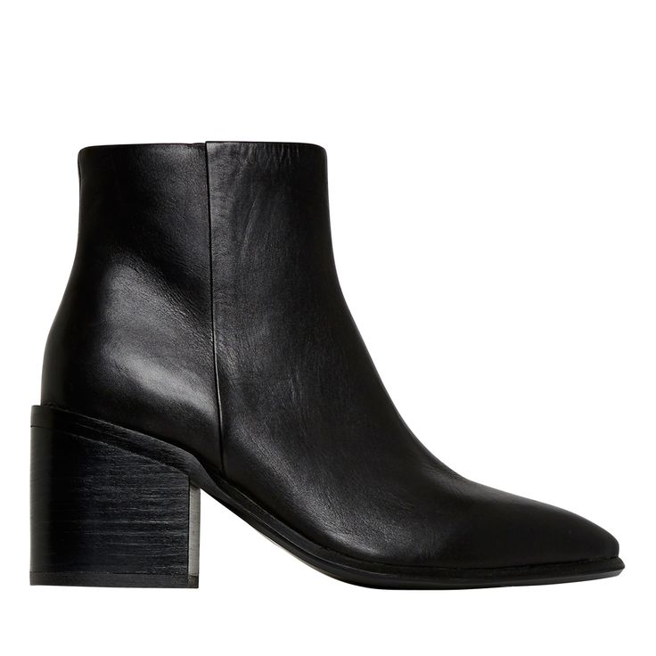 These stylish ankle boots are set on a block heel to give you a touch of height while still being comfortable all day. With a leather upper/synthetic sole, these boots are a wardrobe staple in cooler weather. Available in sizes 36 to 41.