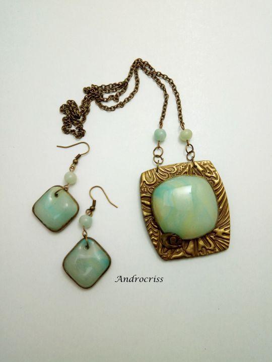 Green stones set bijuterii din lut polimeric