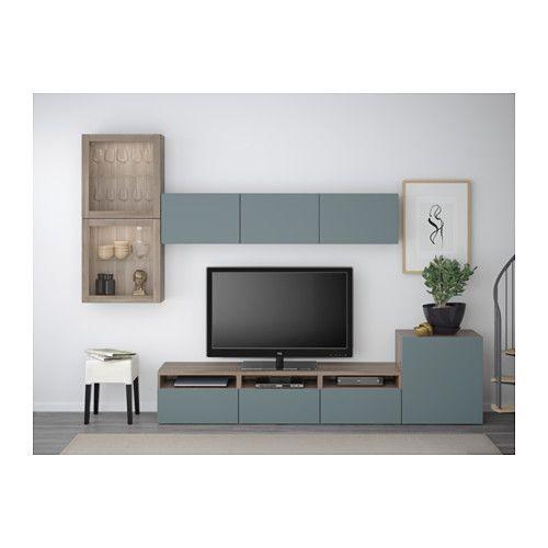 BESTÅ Combinaison rangt TV/vitrines - motif noyer teinté gris/Valviken gris-turquoise verre transparent, glissière tiroir, fermeture silence - IKEA