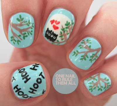 """One Nail To Rule Them All~Can owls be romantic?"" (Idk, but they sure are darn cute!!) http://onenailtorulethemall.blogspot.co.uk/"