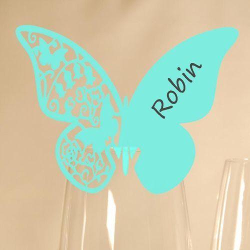 20-Glas-Platzkarten-Schmetterling-Mint-Hochzeit-Tischkarte-Namenskarte