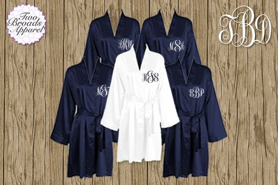 $180  Set of 7 or MORE Silk Satin Robes, Navy Robe, Plus Size Available Personalized, Bridesmaid Gift Brides Monogrammed Robes