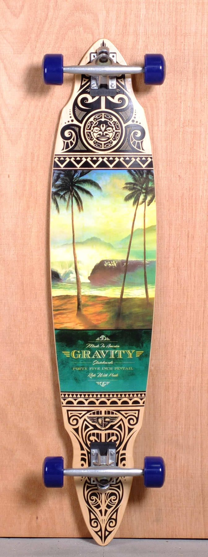 """The Gravity Pintail Longboard Complete is designed for Carving and Cruising. Ships fully assembled and ready to skate! Function: Carving, Cruising Features: Concave Material: 7 Ply Maple Length: 45.00"""" Width: 9.5"""" Wheelbase: 34.125"""" Thickness: 1/2"""" Hole Pattern: New School Grip: Black  My Dream Board!!! ✌️"""