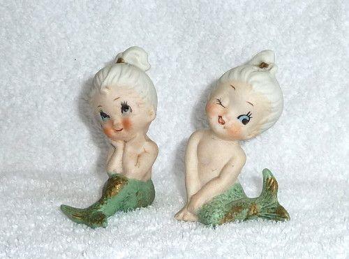 Vintage Cute Mermaid Salt and Pepper Shakers