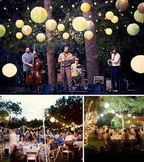 Outdoor wedding lighting. Love the globes! And a band... well that would be awesome. You could get up and sing a song with them!