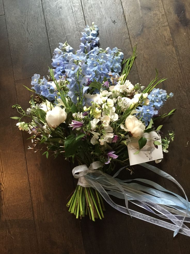 Funeral flowers blue  white