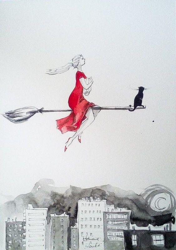 """""""WIEDŹMA MÓL KSIĄŻKOWY"""" praca wykonana akwarelą i piórkiem przez artystkę plastyka Adrianę Laube na papierze A3. Praca sygnowana."""