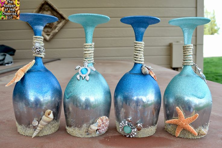 Summer and Sea Wine Glasses (Candle Holders) | The Keeper of the Cheerios