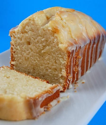 Vanilla yogurt cake with orange glaze