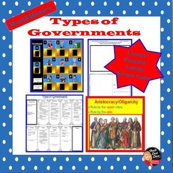 Types of Governments: Lecture, Postcard Activity, Review Game.Students will be able to understand the types of governments that exist in the world by reviewing this engaging lecture, playing a fun game: Government Squares, and creating a postcard activity.