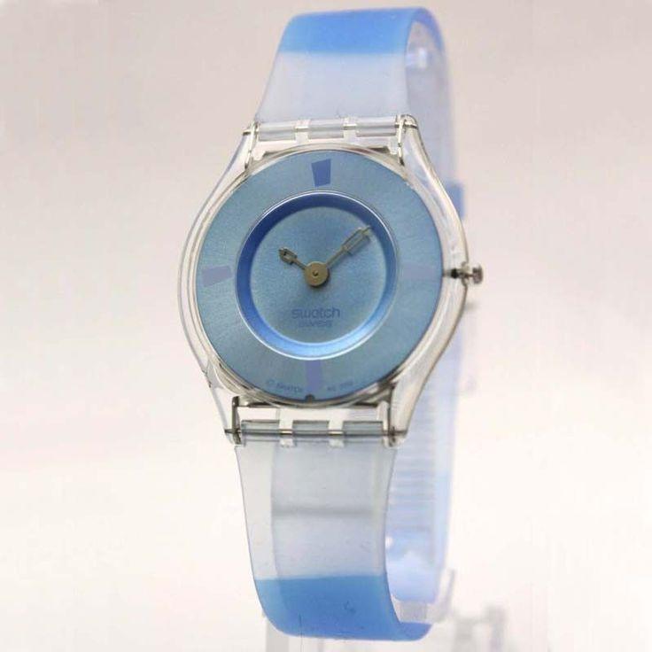 Swatch SFK170 Women's Bludablu Swiss Made Blue Dial Blue & White Plastic Strap Watch