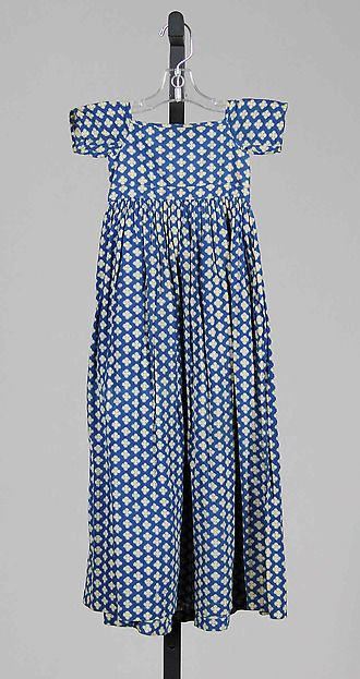 Dress | American | The Met 1815-1820 cotton print girls dress