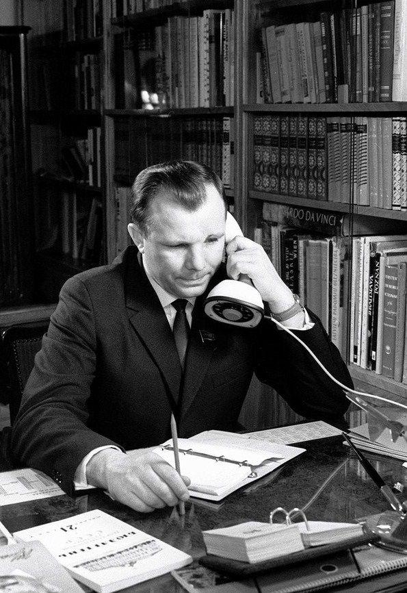 Yuri Gagarin (1934 – 1968), a Russian cosmonaut, the first human in space. Working in his study. 1966. #Russian #cosmonaut #Yuri_Gagarin