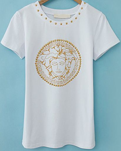 White Short Sleeve Bead Loose T-Shirt EUR€15.70