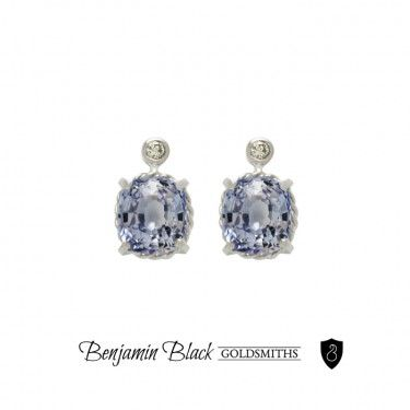 Custom ceylonese sapphire, white gold and diamond earrings, hand crafted by Benjamin Black Goldsmiths.