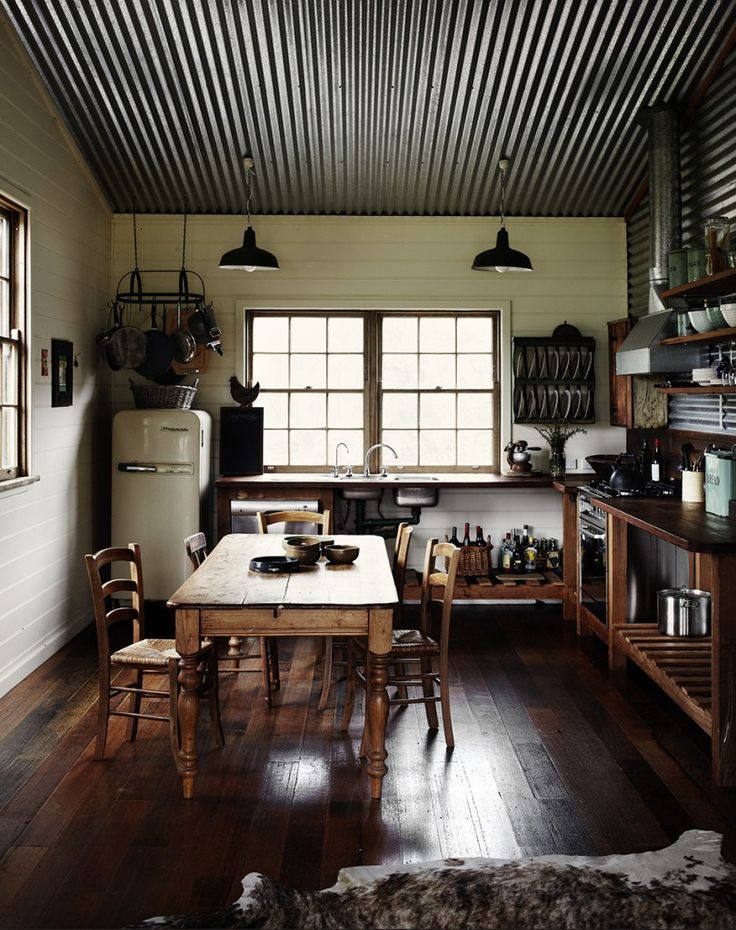 Kitchen with Corrugated Metal Ceiling | Sharyn Cairns