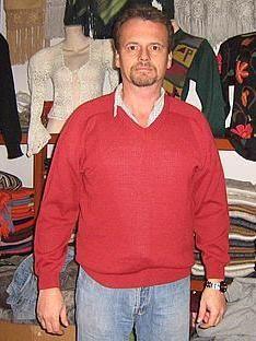 Roter #Herren Rundhals #Pullover, #Babyalpaka #Wolle