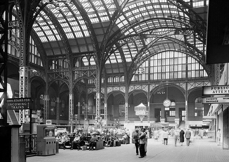 """Old Penn Station, NYC.  """"Today marks the 50th anniversary of protests by an impressive roster of architects, including Peter Samton, Philip Johnson, and Norval White, who knew the original 1910 structure would be demolished but refused to go down without a well-dressed fight."""""""