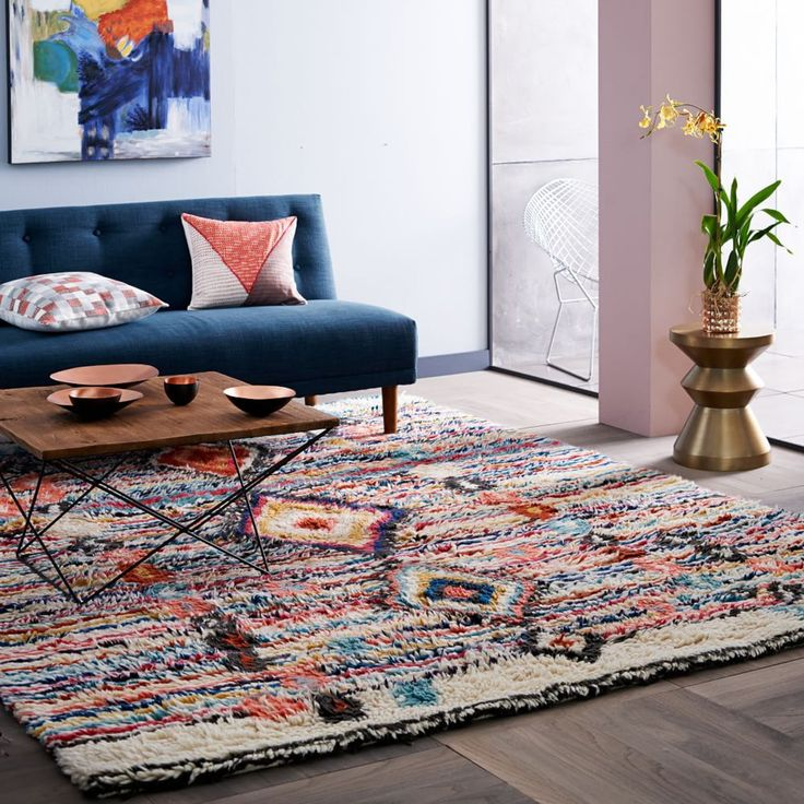 Hand Tufted By S In India Our Long Pile Charm Wool Rug Features A Traditional Moroccan Pattern Updated Fresh Palette