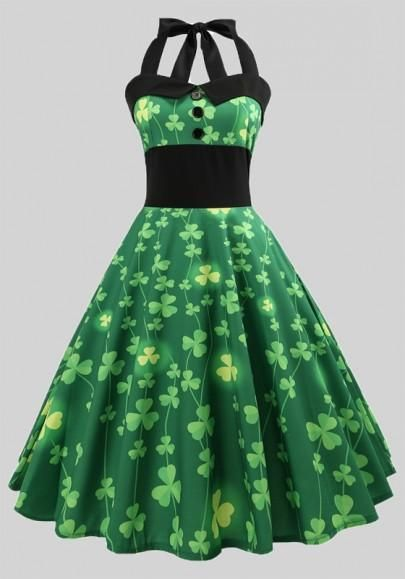 0eb31bcb8 Green Shamrock Buttons Pleated Shoulder Strap Halter Neck St. Patrick's Day  Party Midi Dress