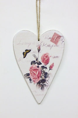 Shabby chic hanging heart vintage rose hanging heart wall plaque wedding heart