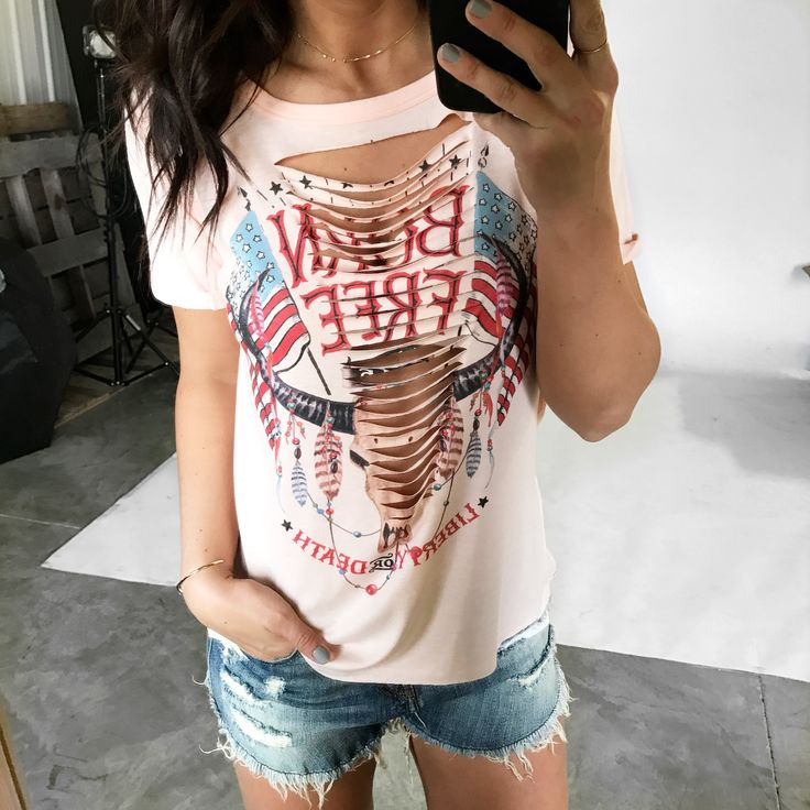 || Born Free Cut-Out Front Short Sleeve Tee || Born Free Cut-Out Front Short Sleeve Tee is our *current* most wanted graphic tee! Pair with a bralette and cutoff denim shorts for #trendy look!