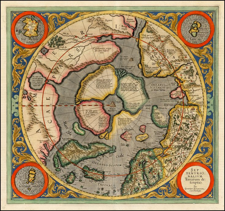 1595 Map Of The North Pole By Mercator Antique Maps And
