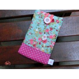 Funda para móvil tela flores turquesa y acolchado