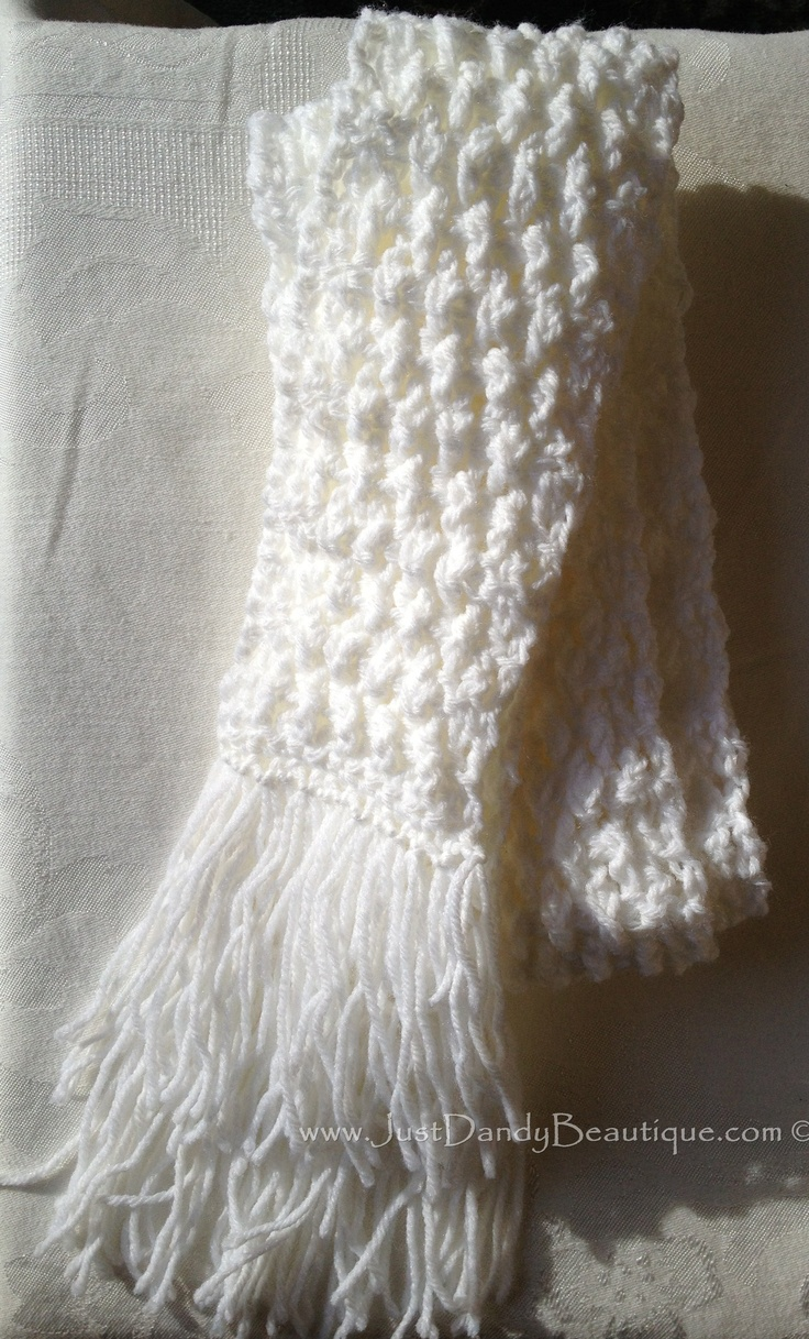 Triple Crochet Stitched Scarf White | Yarn!! Crochet ...