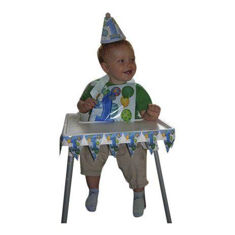 Kinderstoelversiering, 1e verjaardag, blauwe ballonnen