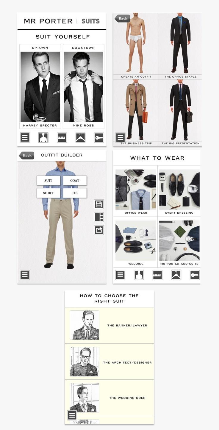 Mr.Porter dressing guide.  APP design.  UI Mobile.