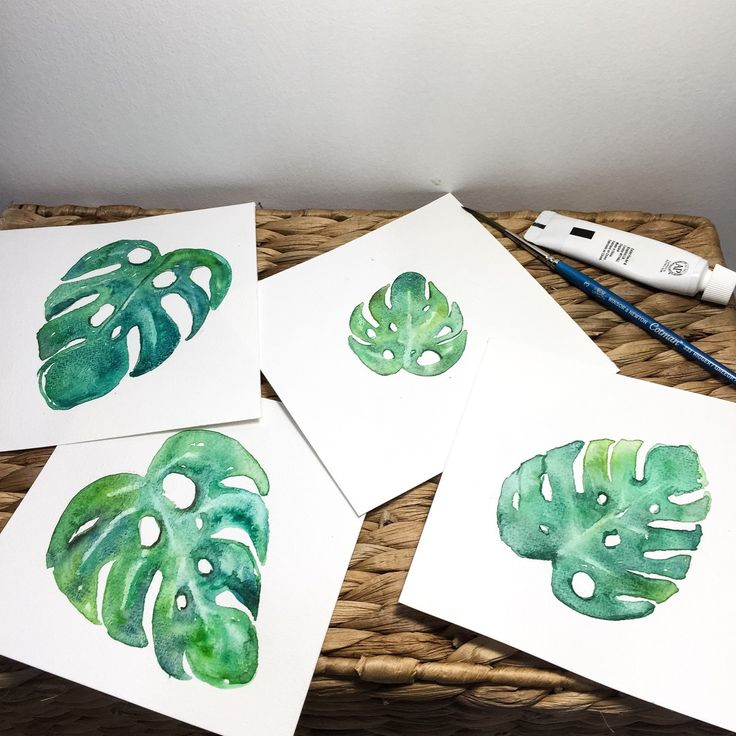 Four original monstera leaves painted in a minimalist modern style.  Each painting is 12cm x 12cm.  Arrange them together to add a wow factor or hang separately to see them in their individual glory. Affordable gift. Unique and one of a kind.