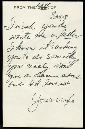 Handwritten by Lucille Ball to Gary Morton