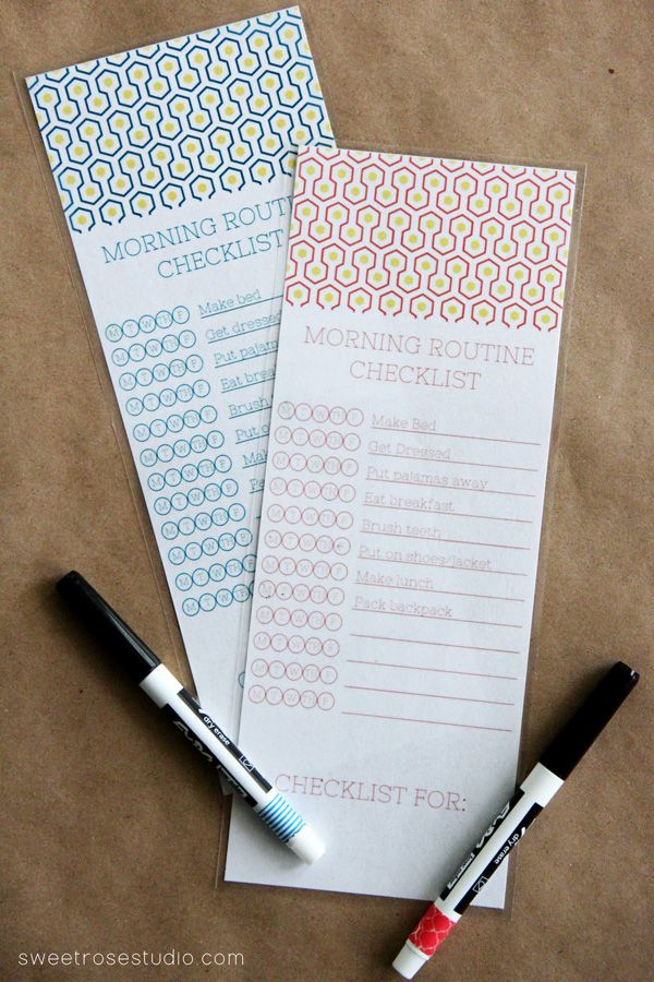 Morning Routine Checklist printable and tips for getting kids to school on time
