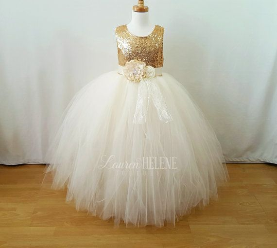 Gold Flower Girl Dress Ivory Flower Girl by LaurenHeleneCouture
