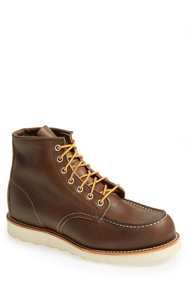 Free shipping and returns on Red Wing Moc Toe Boot (Men) at Nordstrom.com. A smart wedge sole lifts a ruggedly made American boot fashioned from beefy leather.
