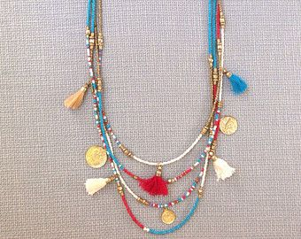 Seed Bead Necklace Turquoise Tassel Necklace Boho Bohemian Statement Turquoise Tribal Gold Seed Bead Statement Necklace