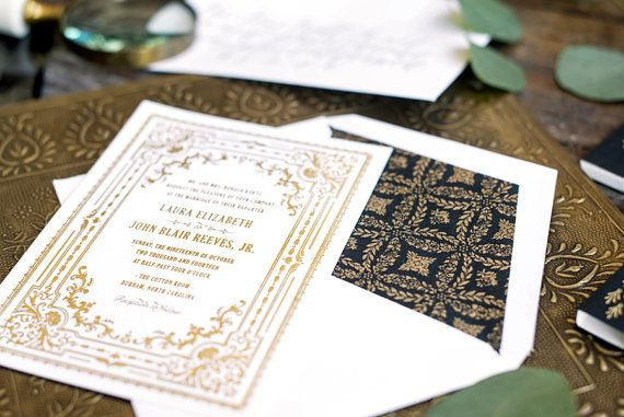 Gold Foil Wedding Invitation Letterpress Wedding by HelloTenfold