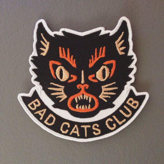 Bad Cats Club Misery Patch by BadCatsClub on Etsy, £8.50 #Patch #Halloween #cat #blackcat #handmade #design #retro
