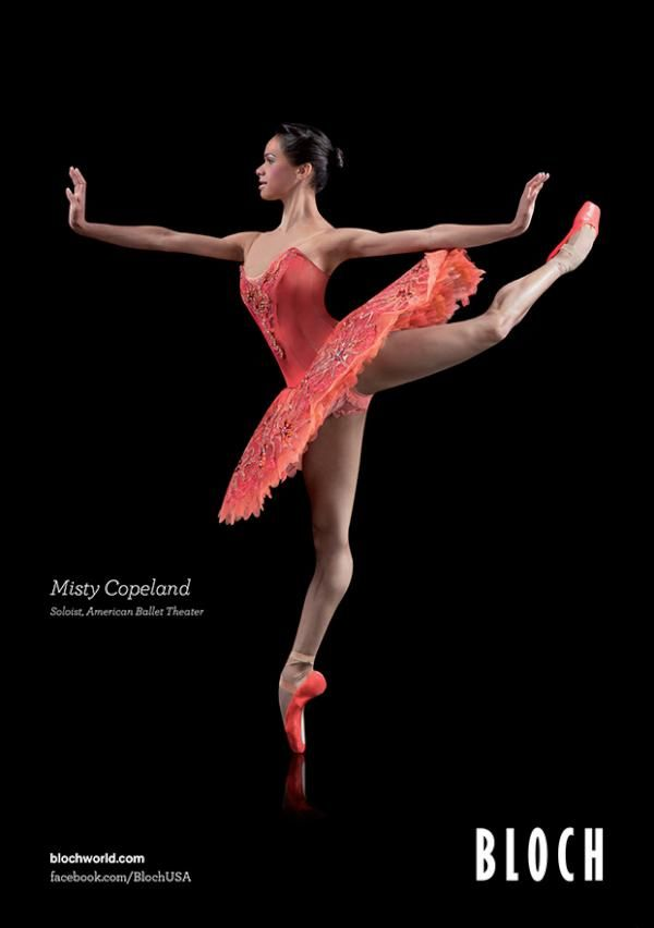 Misty Copeland's new Bloch Ad. The hyperextension in her right leg is actually kind of ugly. But I love the pose otherwise.