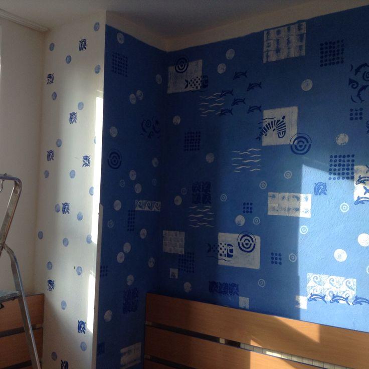 Printed wall in kindergarden.