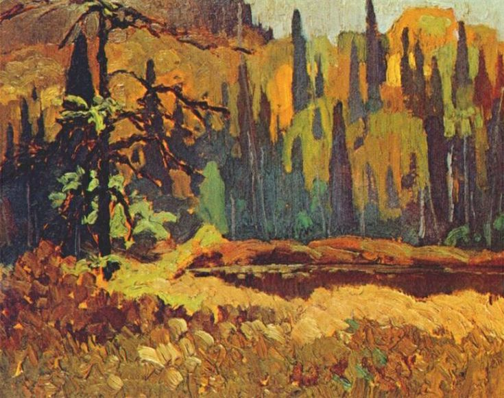 Moose Pond, 1918, by the Group of Seven painter Frank Johnston // originally consisting of Franklin Carmichael (1890–1945), Lawren Harris (1885–1970), A. Y. Jackson (1882–1972), Frank Johnston (1888–1949), Arthur Lismer (1885–1969), J. E. H. MacDonald (1873–1932), and Frederick Varley (1881–1969). Later, A. J. Casson (1898–1992) was invited to join in 1926; Edwin Holgate (1892–1977) became a member in 1930; and LeMoine Fitzgerald (1890–1956) joined in 1932