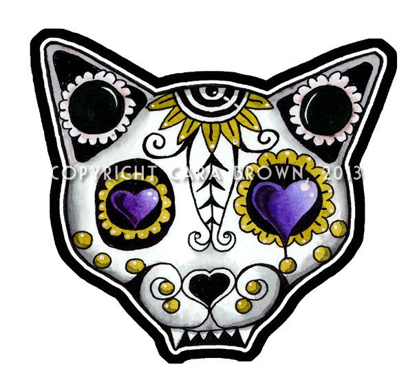 Sugar Skull Cat Sticker Day of the Dead Vinyl Decal or Car Window lap top or ipad size large. $5.00, via Etsy.
