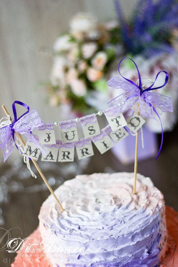 SMALL Wedding Cake Topper Banner Just Married with от DiAmoreDS