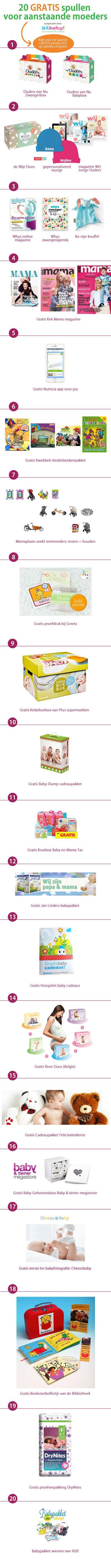 Eindelijk een opsomming van alle GRATIS babyproducten, cadeauboxen, pakketten en spullen voor zwangeren.