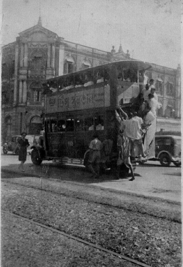 Crowded double decker bus. Old Calcutta. 1942.
