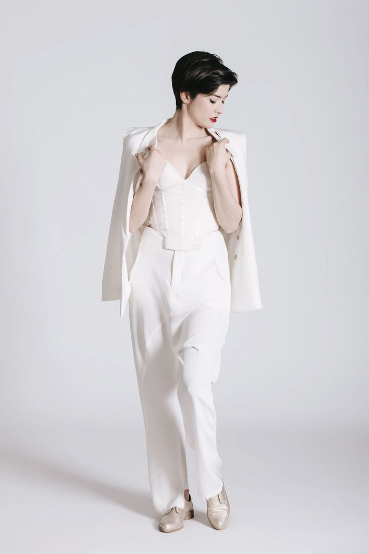 Androgynous Style. Women's White Wedding Suit. Same-sex wedding idea. THE NEW BRIDE non-wedding dress.