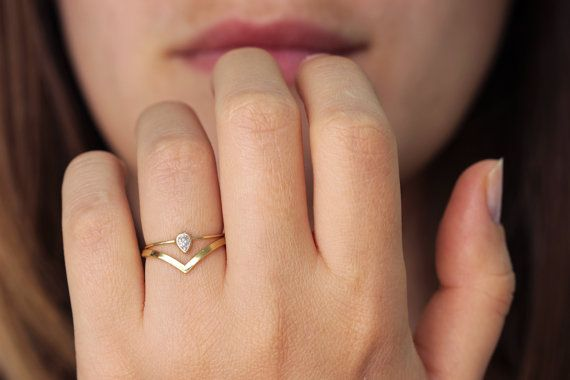 Curved Wedding Ring - Pointy Stacking Ring - 14k Solid Gold on Etsy, $320.00